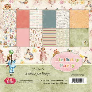 CPB-BP15 Small Paper Pad 6x6, 36 sheets BIRTHDAY PARTY