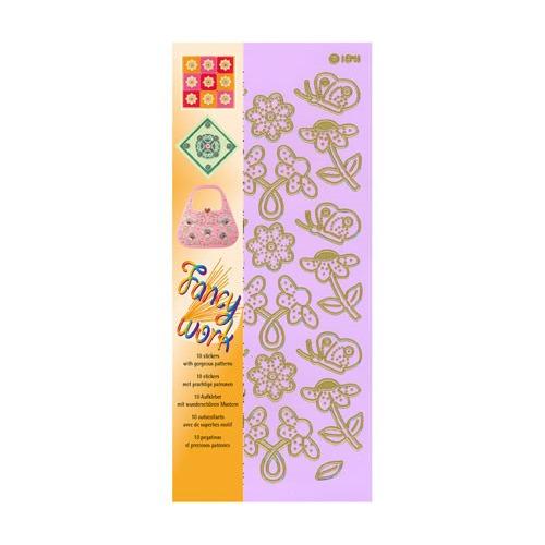 Fancy-work embroidery sticker set flowers