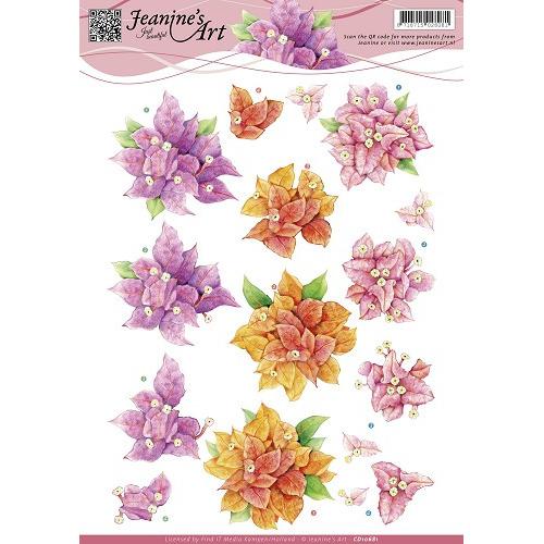 3D Knipvel - Jeanines Art  -  Bougain villea - bloemen