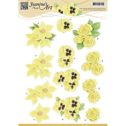 3D Knipvel - Jeanines Art - Gele bloemen