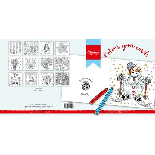 Marianne D Colour your cards - Christmas 12st PK9137 (New 07-16)
