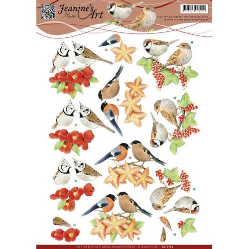 3D Knipvel - Jeanines Art - Rode vogeltjes