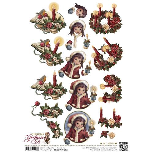 3D Knipvel - Amy Design - Christmas Greetings - Kerstkaarsen