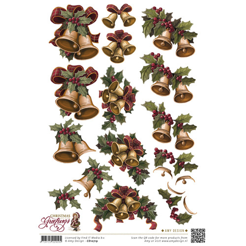 3D Knipvel - Amy Design - Christmas Greetings - Kerstklokken