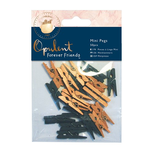 Mini Pegs (50pcs) - Forever Friends - Opulent - Navy & Copper