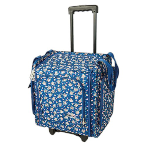 Wheelable Craft Tote - Navy Floral