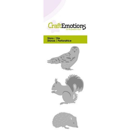 CraftEmotions Die - uil egel eekhoorn Card 5x10cm (07-16)