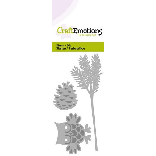 CraftEmotions Die - uil op dennentak Card 5x10cm (07-16)