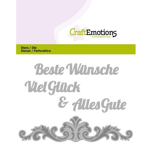 CraftEmotions Die Text - Beste Wünsche (DE) Card 11x9cm (07-16)