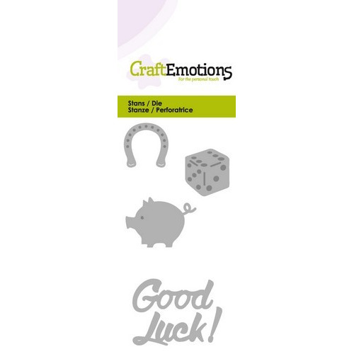 CraftEmotions Die - Good Luck! Card 5x10cm (09-16)