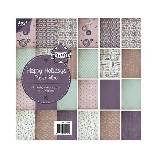 6011/0390 - Paper bloc, 15x30cm - Happy Holidays