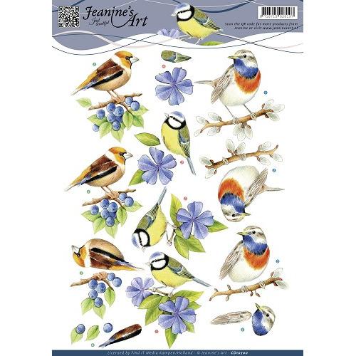 3D Knipvel - Jeanines Art - Blauwe vogeltjes