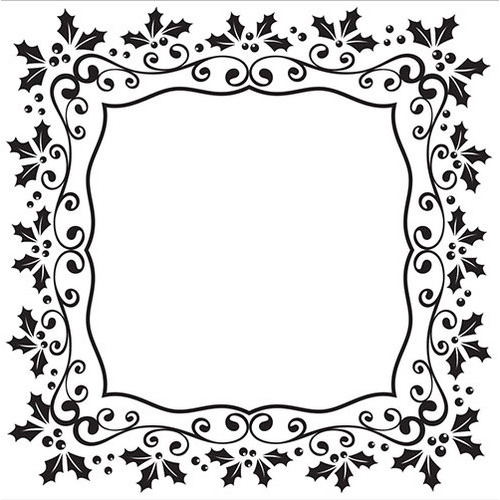 Embossing Folder - Christmas square holly frame 130x130mm
