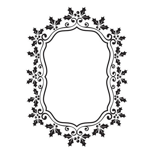 Embossing Folder - Christmas oval holly frame 106x150mm