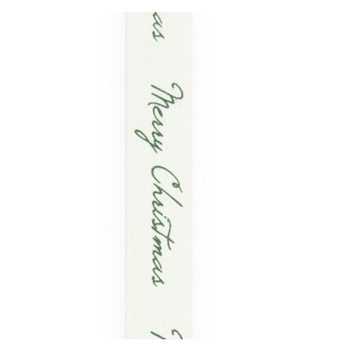 Vivant lint katoen Merry Christmas wit groen 15m x 15mm