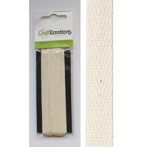 CraftEmotions lint katoen creme 2,5m x 9mm