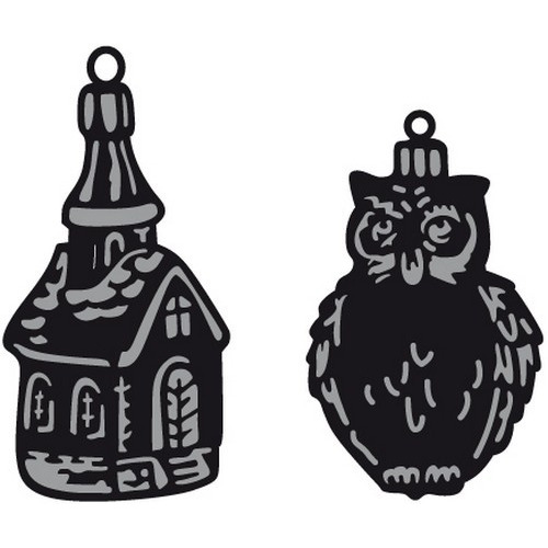 Marianne D Craftable Tiny`s ornaments church & owl CR1381 (09-16)