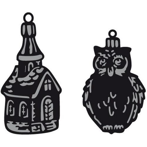 Marianne D Craftable Tiny`s ornaments church & owl CR1381 (09-16)