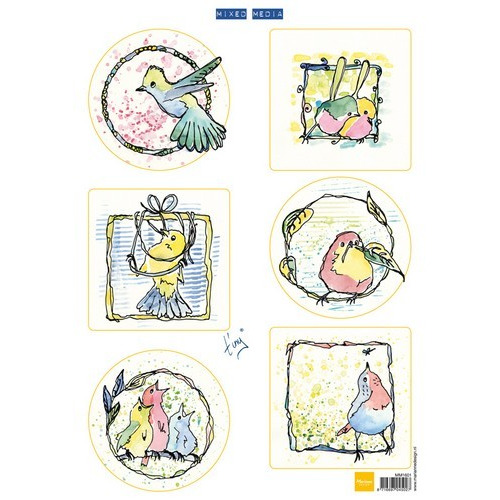 Marianne D 3D Knipvellen Colourful birds MM1601 (09-16)
