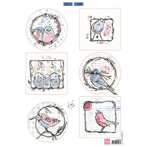 Marianne D 3D Knipvellen Pastel birds MM1602 (09-16)