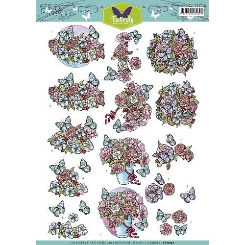 3D Knipvel - Yvonne Creations - Butterfly - Flowers