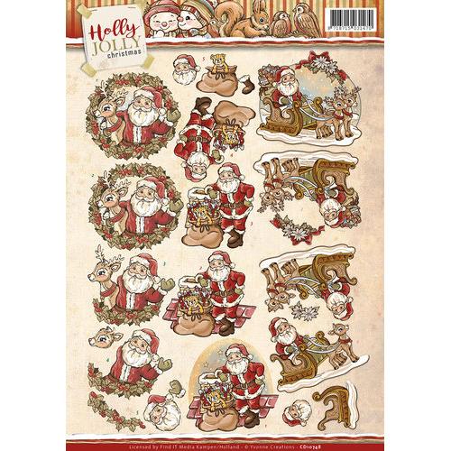 3D Knipvel - Yvonne Creations - Holly Jolly - Santa