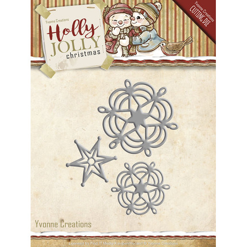Die - Yvonne Creations - Holly Jolly - Snowflake and Star