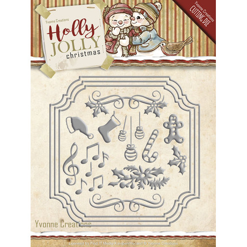 Die - Yvonne Creations - Holly Jolly - Card Set