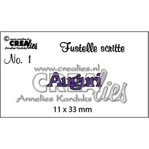 Crealies Tekststans (IT) nr 01  Auguri 11x33mm  / CLFS01