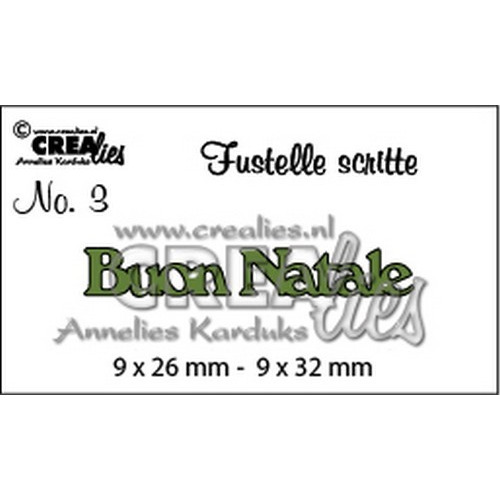 Crealies Tekststans (IT) nr 03  Buon Natale 9x26-9x32mm  / CLFS03