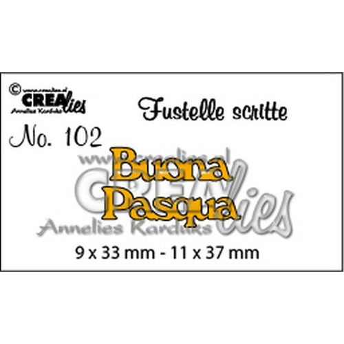 Crealies Tekststans (IT) nr 102  Buona Pasqua 9x33-11x37mm  / CLFS102