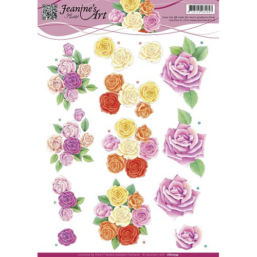 3D Knipvel - Jeanines Art - Roze rozen