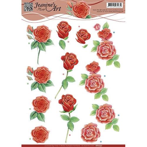 3D Knipvel - Jeanines Art - Rode rozen