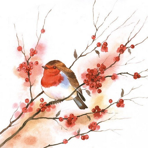 CraftEmotions servetten 5st - Birdy robin 33x33cm Ambiente 33304435