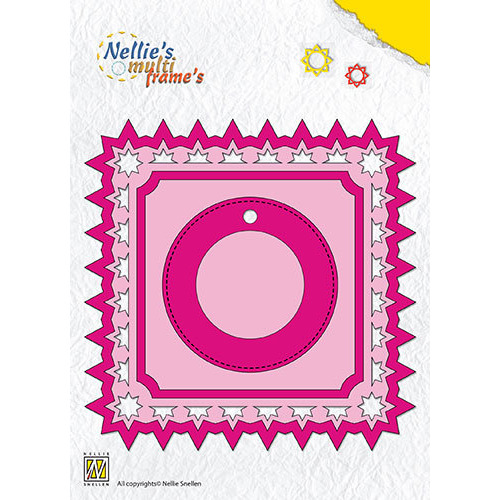 Multi Frame Dies square with label Christmas star pattern
