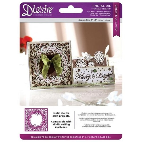 Crafter`s Companion Die`sire Christmas 5x5 `Create-a-Card` Metal Die - Timeless Wrea