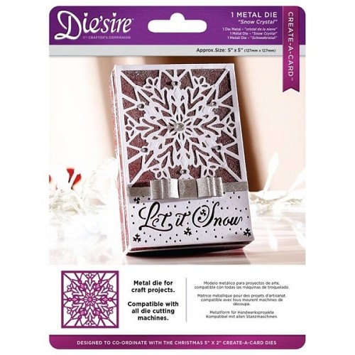 Crafter`s Companion Die`sire Christmas 5x5 `Create-a-Card` Metal Die - Snow Crystal