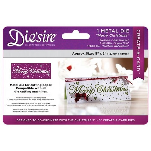 Crafter`s Companion Die`sire Christmas 5x2 `Create-a-Card` Metal Die - Merry Christm