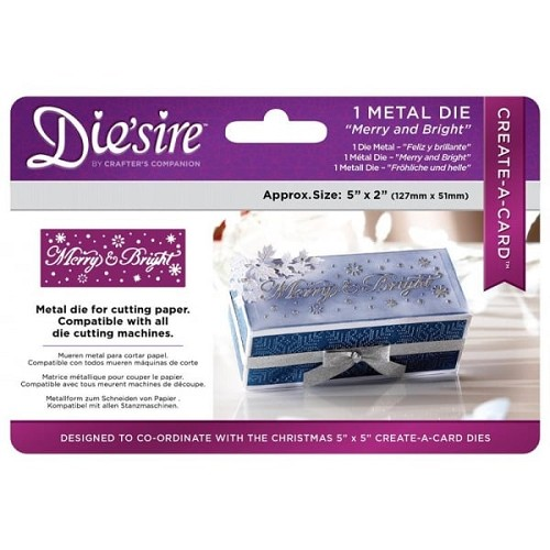Crafter`s Companion Die`sire Christmas 5x2 `Create-a-Card` Metal Die - Merry and Bri