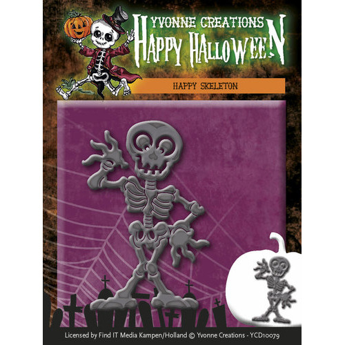 Die - Yvonne Creations - Happy Halloween - Happy Skeleton