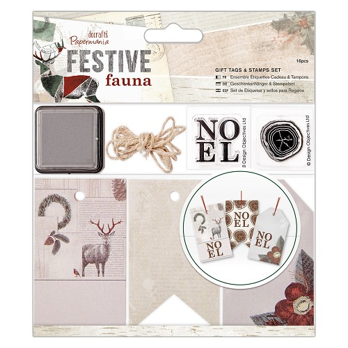 Gift Tags & Stamps Set (16pcs) - Festive Fauna