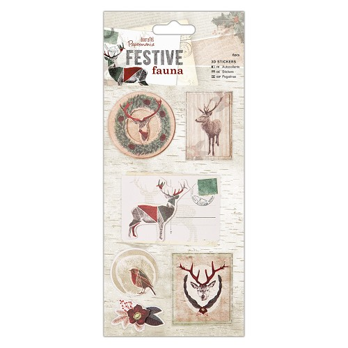 3D Stickers (7pcs) - Festive Fauna