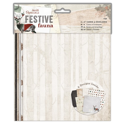 "6 x 6"" Cards & Envelopes (12pk) - Festive Fauna"