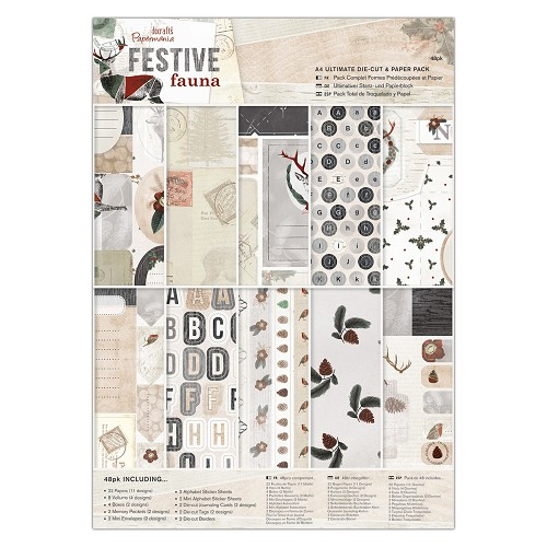 A4 Ultimate Die-cut & Paper Pack (48pk) - Festive Fauna