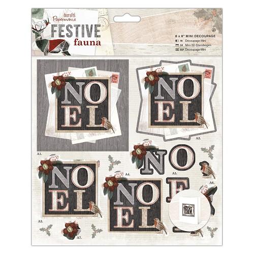 "8 x 8"" Mini Decoupage - Festive Fauna - Noel"