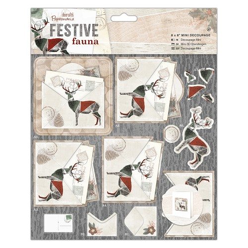 "8 x 8"" Mini Decoupage - Festive Fauna - Postcard"