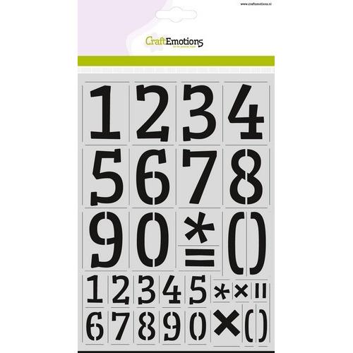 CraftEmotions stencil - cijfers CraftEmotions A4 - H=60mm