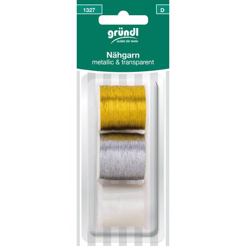 1327 (D) Naaigaren transparant (100% polyester), metallic(100% polyamide) goud, zilver dikte 60/2