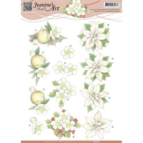 3D Knipvel - Jeanines Art - Witte kerstbloemen