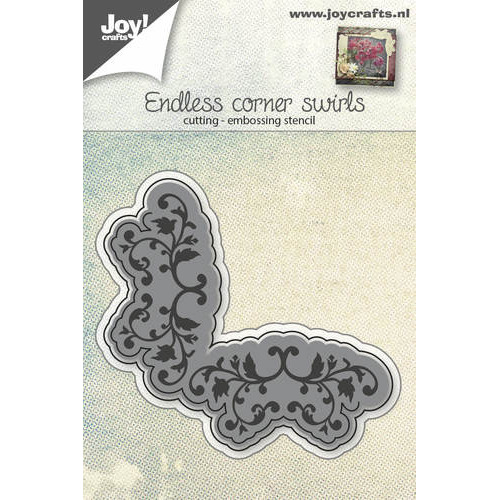 Snij-embosstencil - eindeloos hoek met swirls